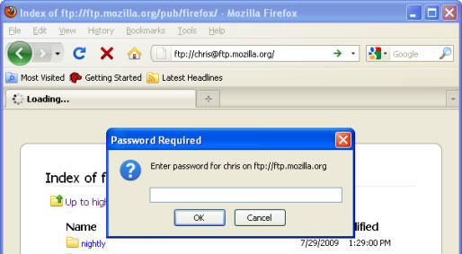 Accessing FTP servers with Mozilla Firefox
